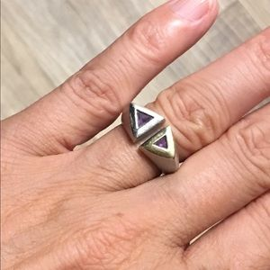 Jewelry - .925 Sterling Silver and Gold Amethyst Ring